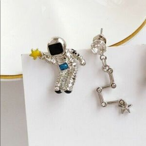Jewelry - Asymmetrical Silver Astronaut And Stars Earrings
